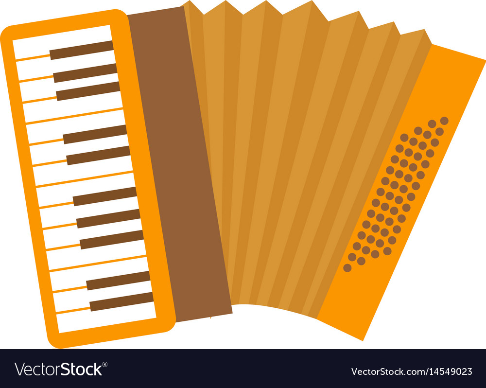 Accordion icon flat cartoon style musical vector image