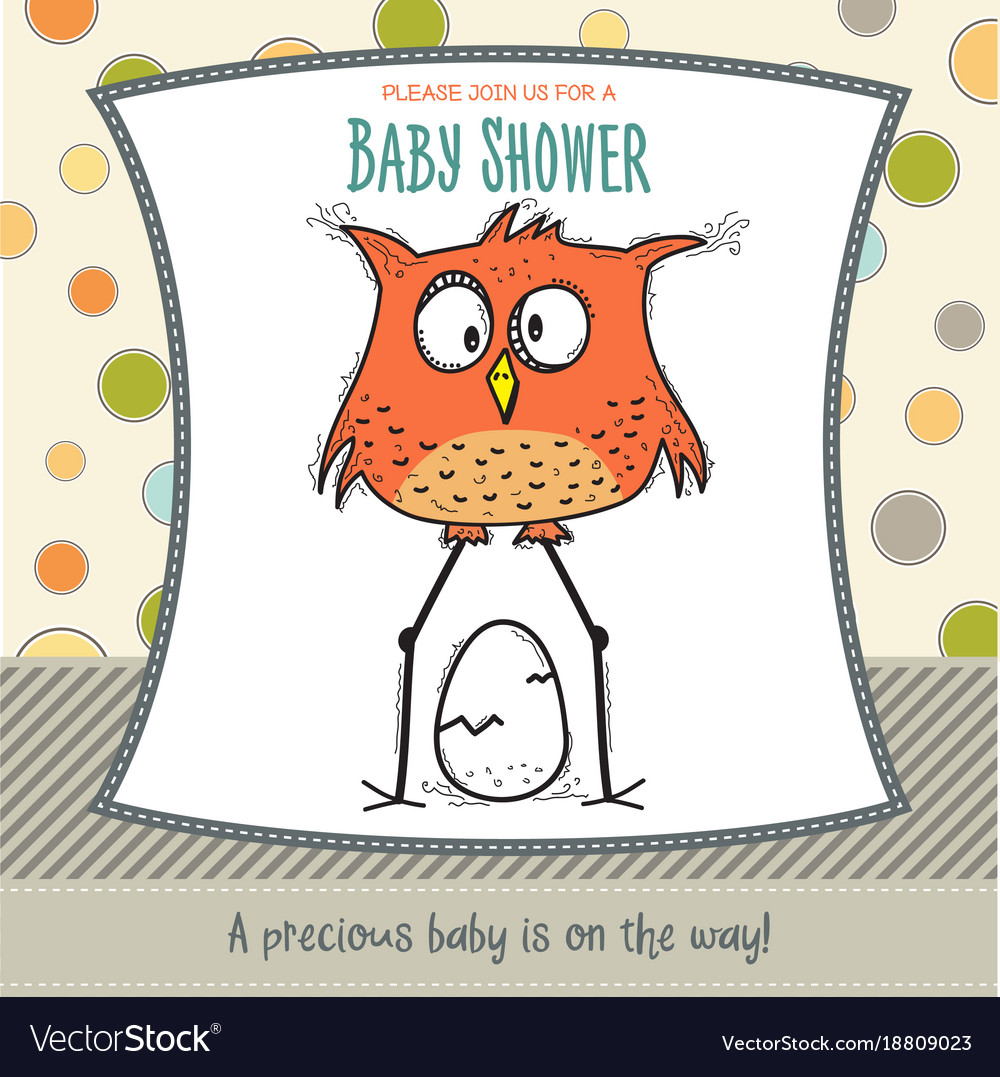 Baby Shower Card Template | Baby Shower Card Template With Funny Doodle Bird Vector Image