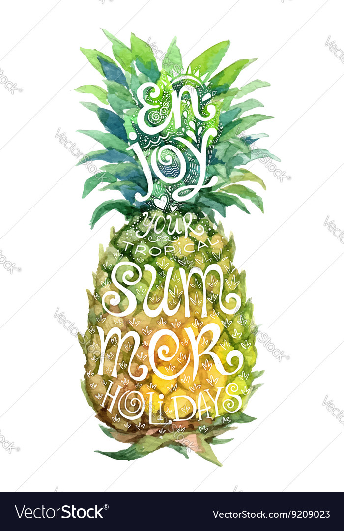 Bright watercolor pineapple silhouette with grunge