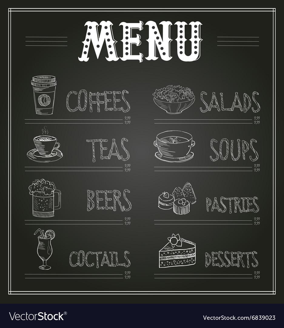 Chalkboard Menu Template of Food and Drinks