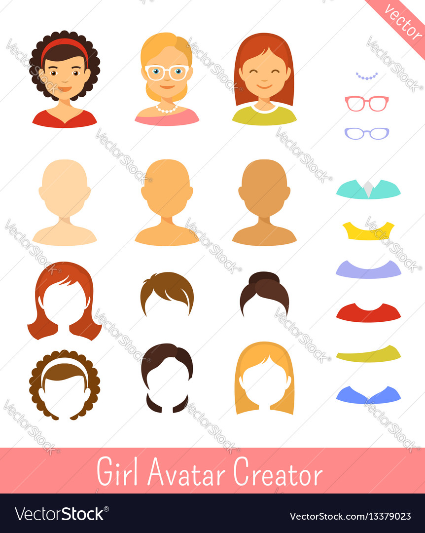 Girl avatar creator and female avatars set