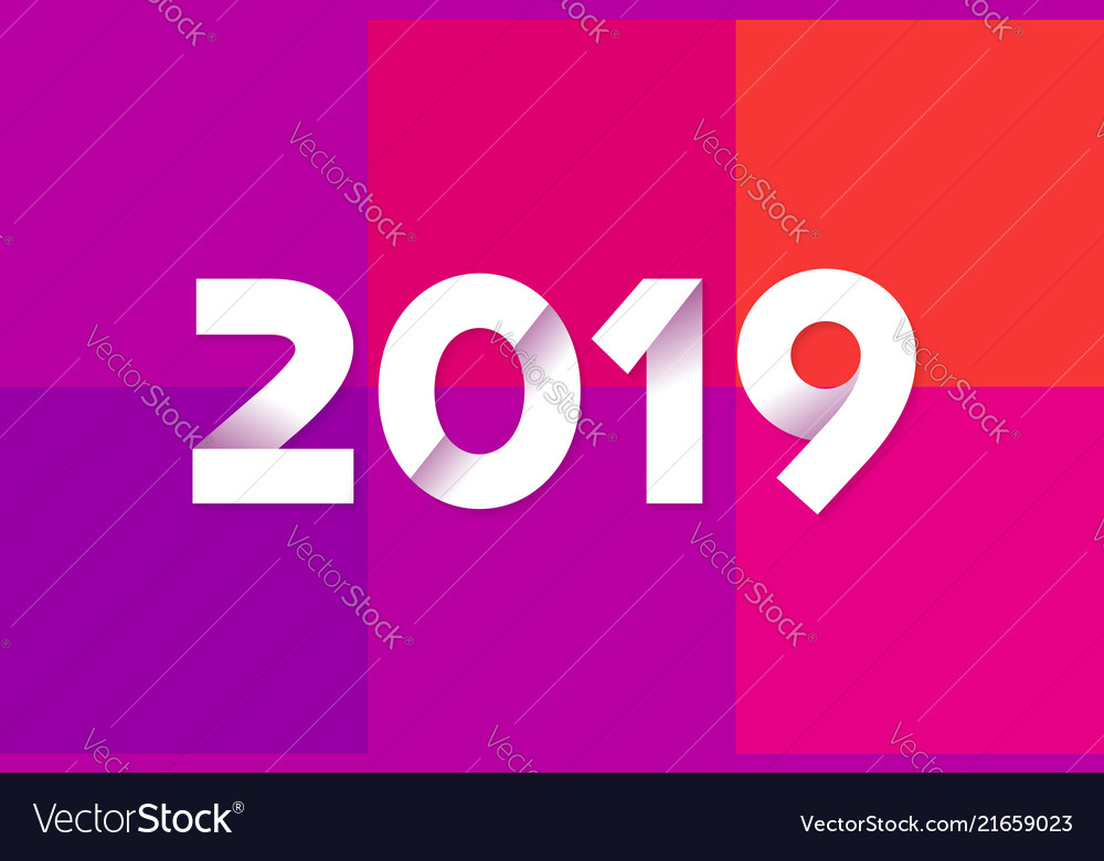 Happy New Year 2019 Greeting Card Design Vector Image