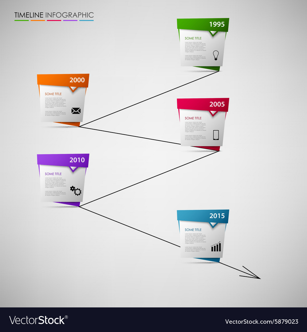 Time line info graphic with colored abstract vector image