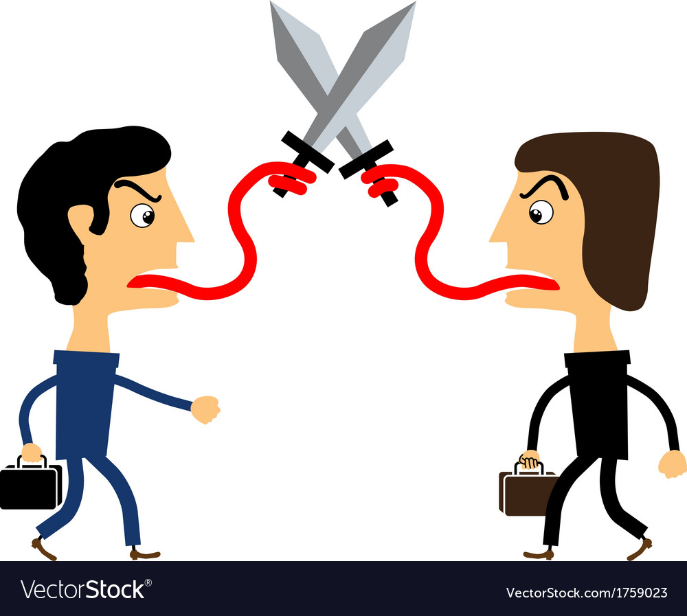 Two People Fighting With Their Tongues Royalty Free Vector