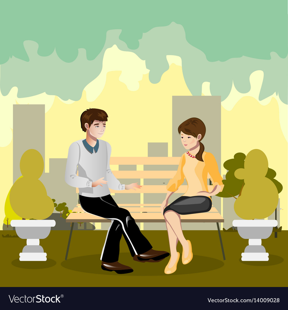 A Loving Couple Sitting On A Park Bench Royalty Free Vector
