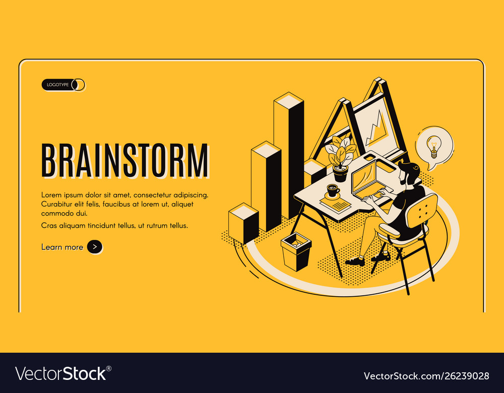 Brainstorm isometric landing page online service