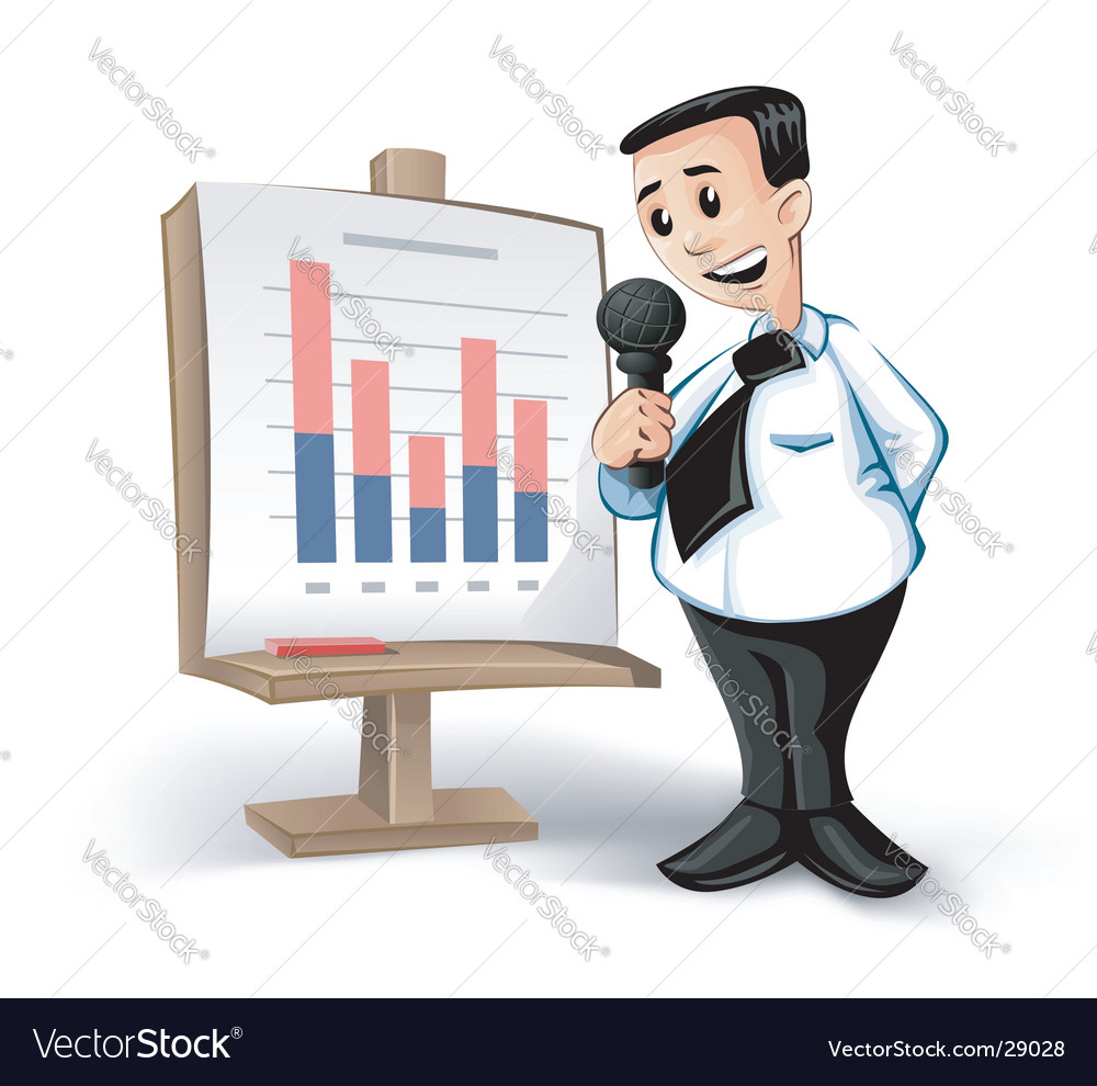 Businessman charts vector image
