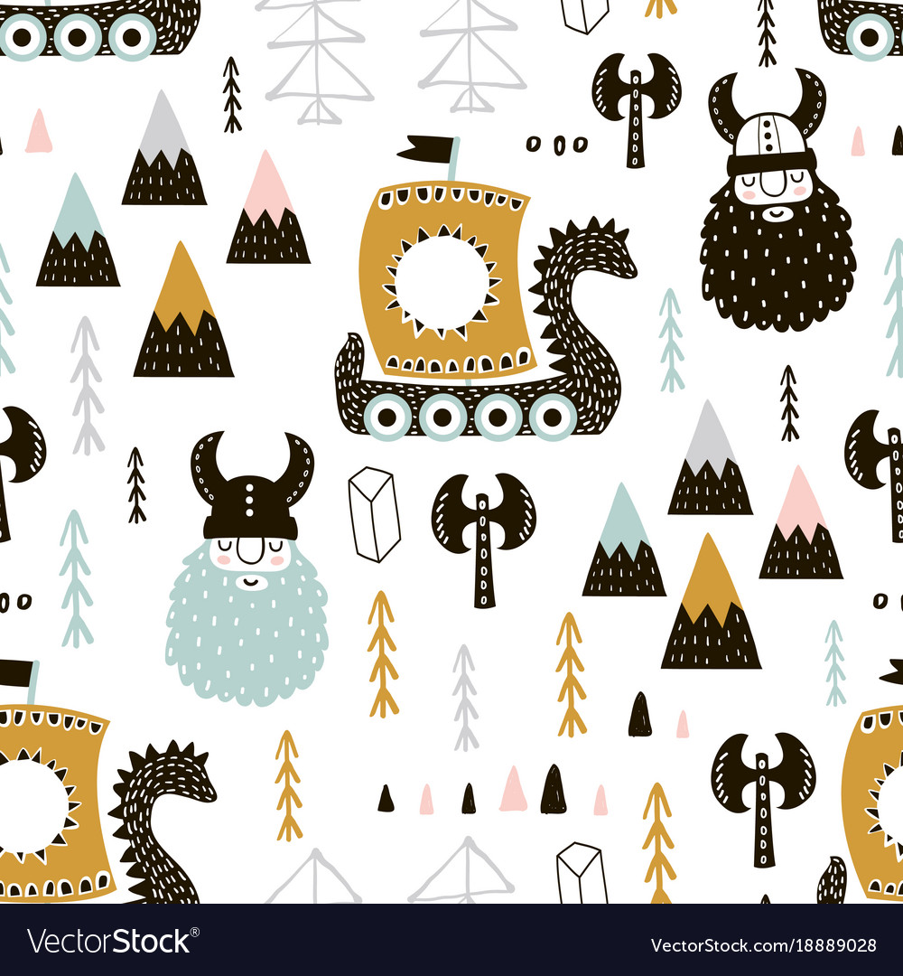 Childish seamless pattern with vikings trendy