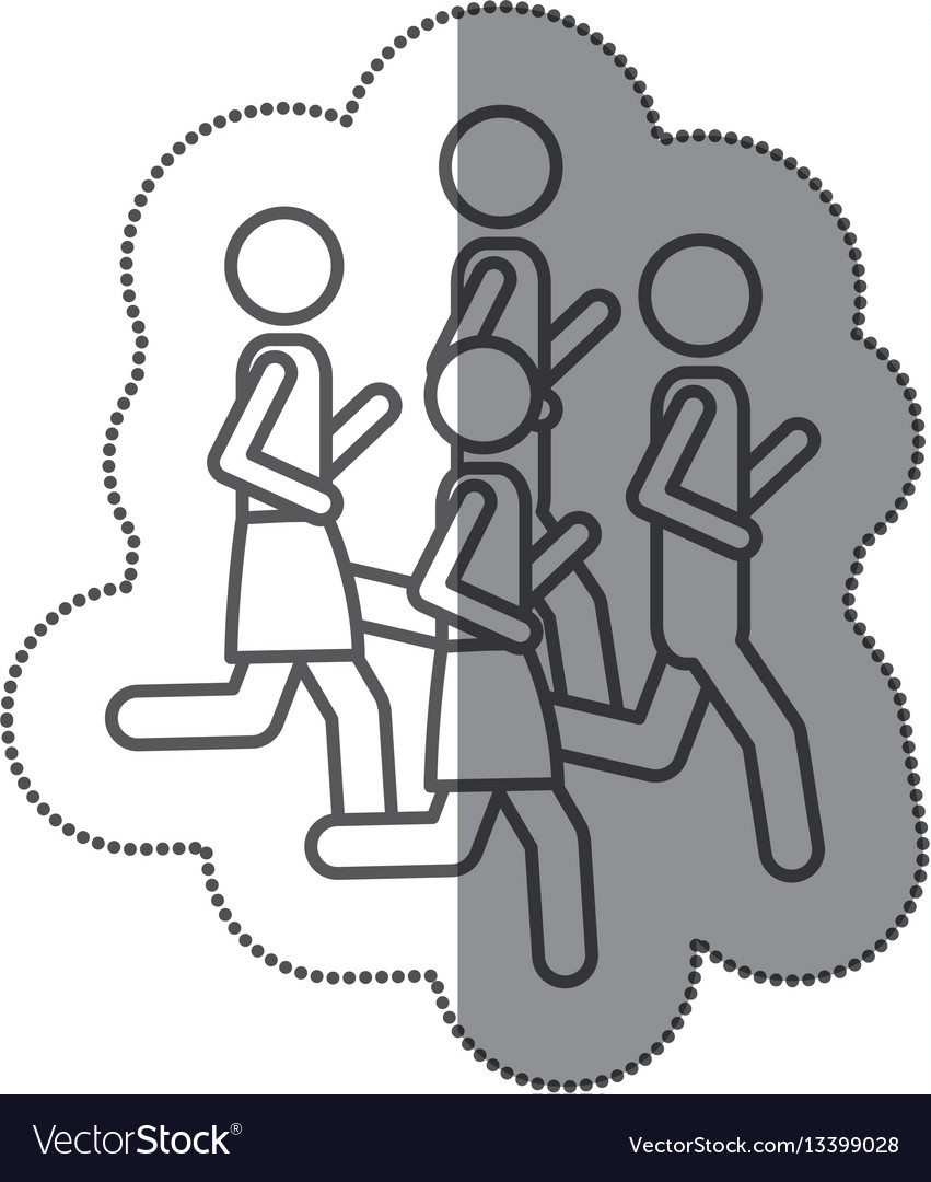 Figure men jogging icon stock