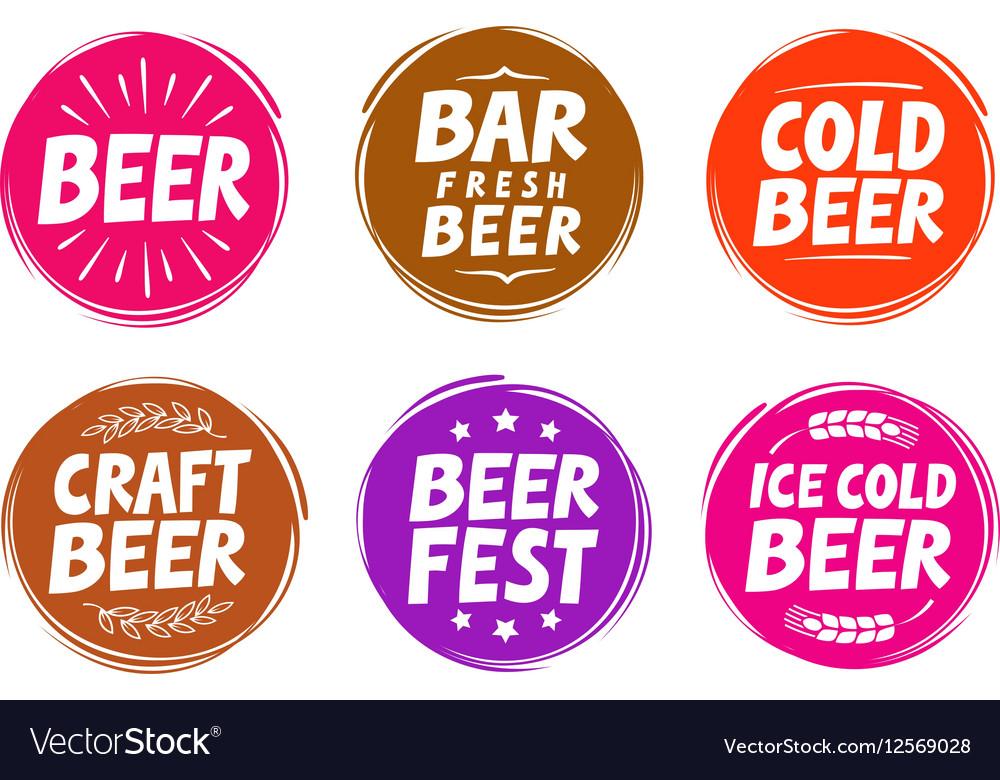 Fresh craft beer brewery symbol elements