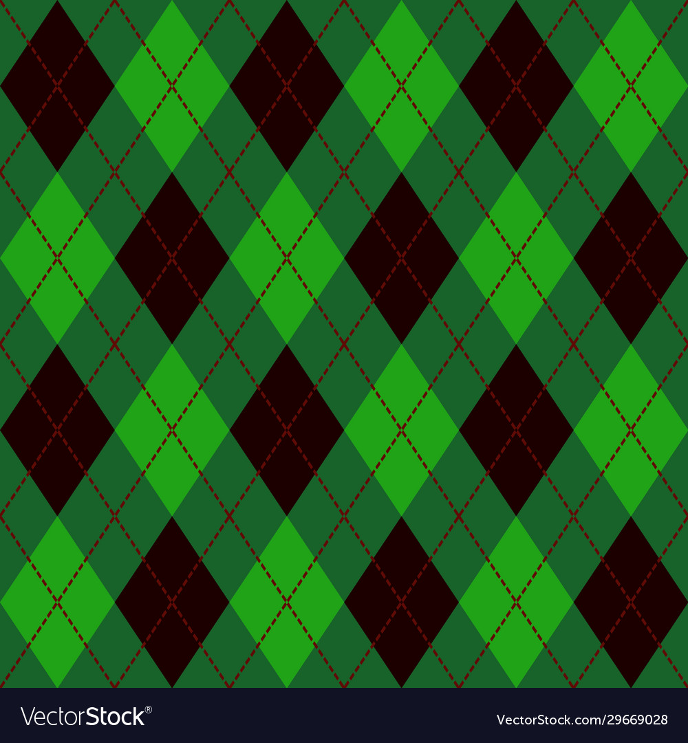 Green black and red seamless argyle pattern