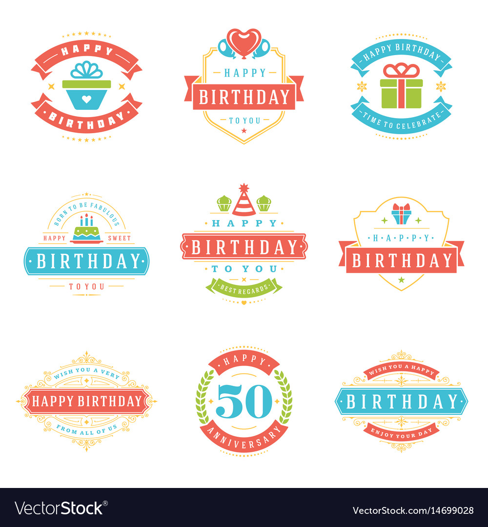 Happy birthday badges and labels design