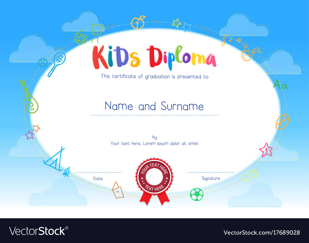kids diploma or certificate template with cartoon vector image