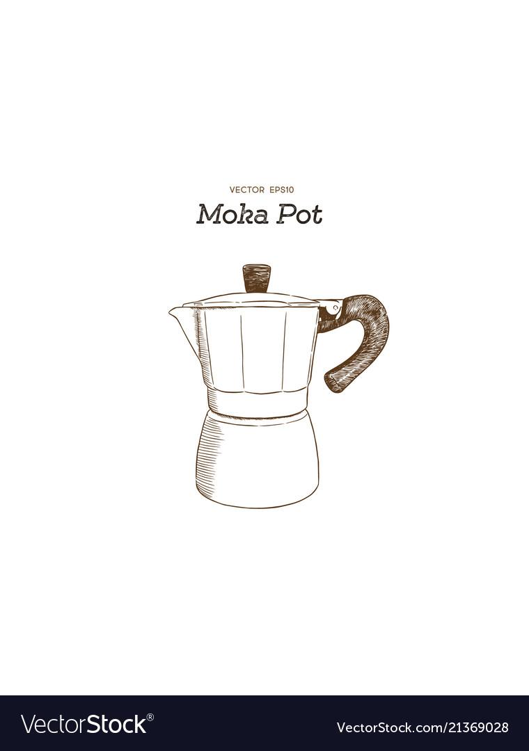 Moka pot coffee maker hand draw