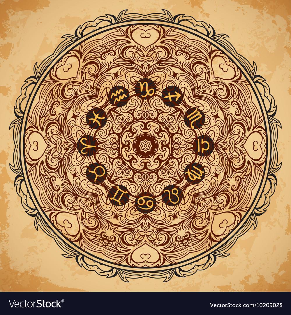 Ornate mandala and zodiac circle horoscope signs