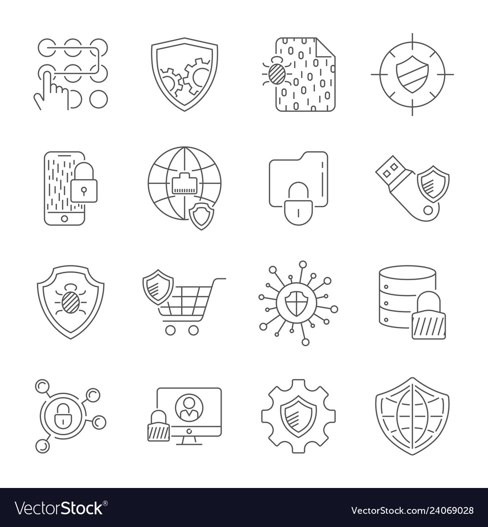 Set icons cyber protection and internet