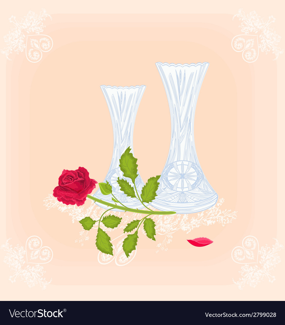 Vases and rose as engraving vintage vector image