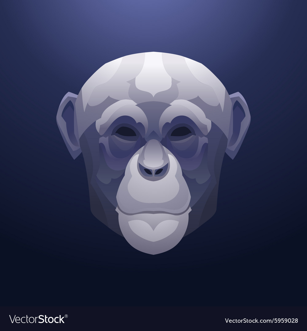 Vintage monkey label Retro design graphic vector image