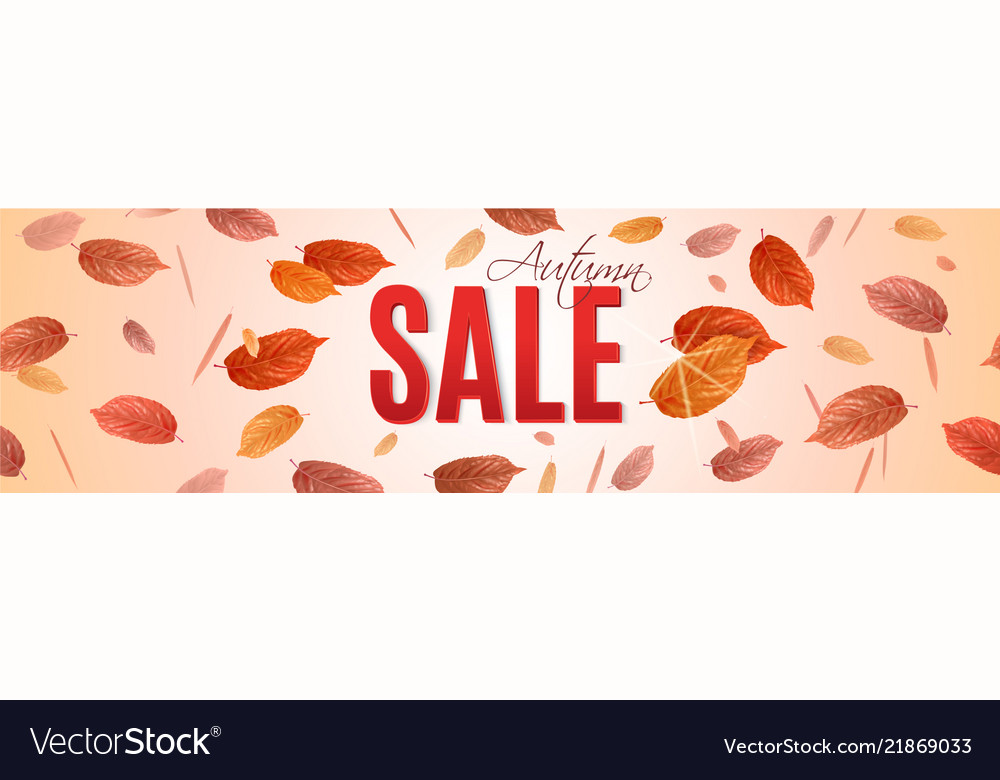 Autumn sale banner with brigt falling leaves