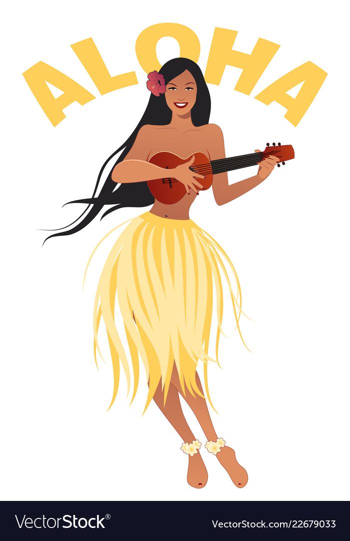 Beautiful and smiling hawaiian girl wearing skirt
