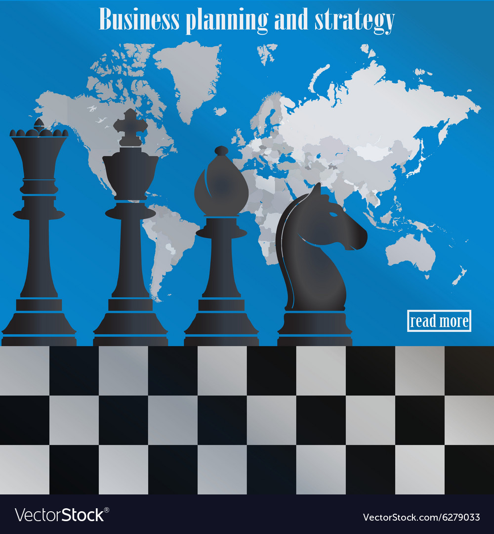 Business strategy Chess on the world map vector image