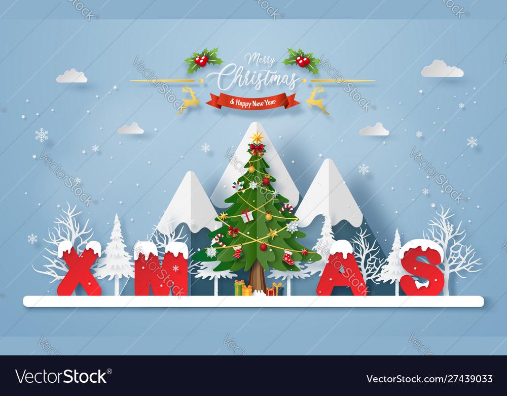 Christmas tree with word xmas at mountain