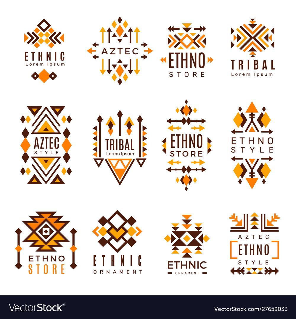 Ethnic logo trendy tribal symbols geometric