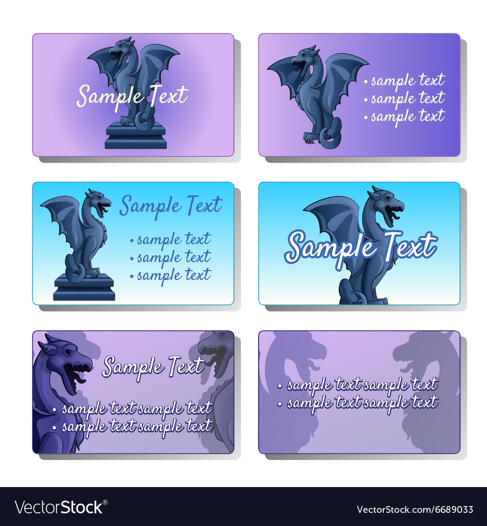 Set of six cards depicting gargoyles vector image