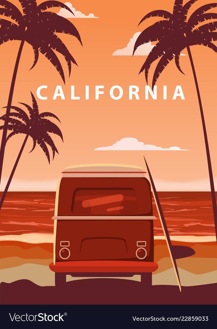 Surfer orange bus van camper with surfboard on