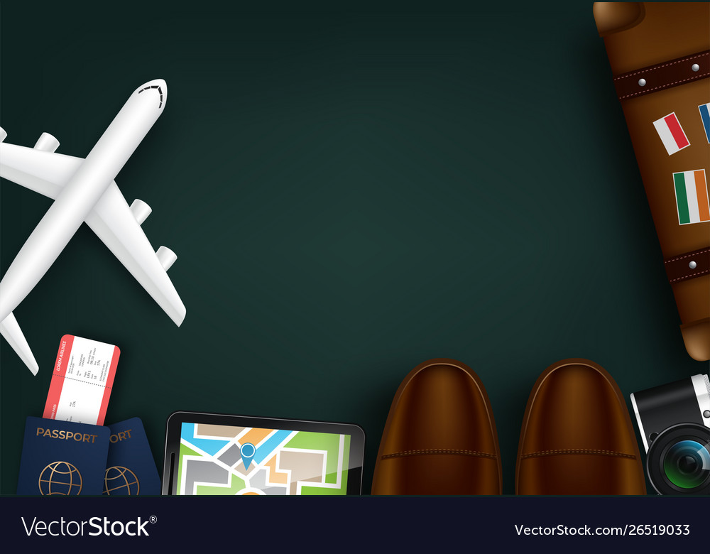 Top view on travel and tourism concept template