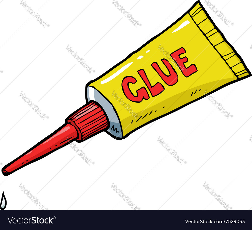 Yellow tube of glue vector image