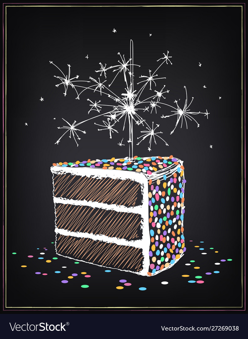 Awesome A Piece Birthday Cake With Sparklers And Vector Image Funny Birthday Cards Online Inifodamsfinfo