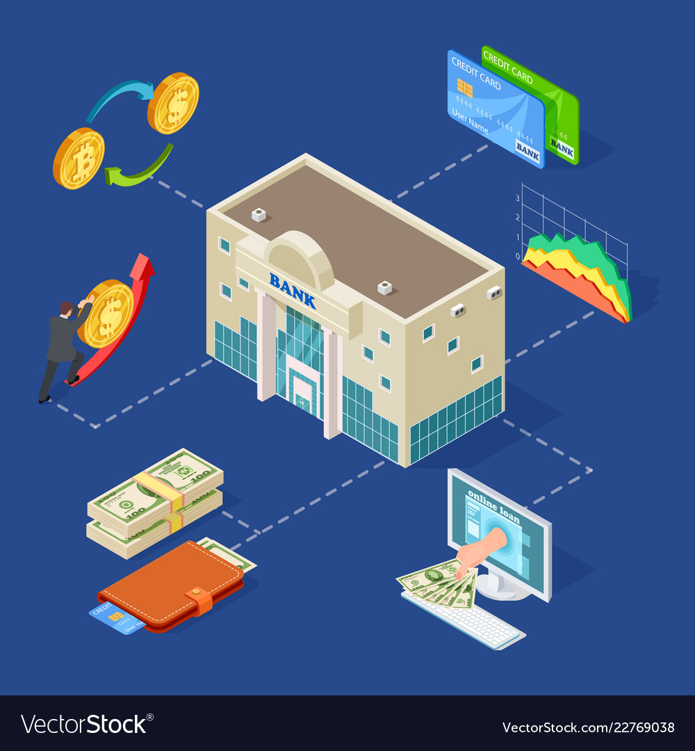 Banking isometric concept with bank