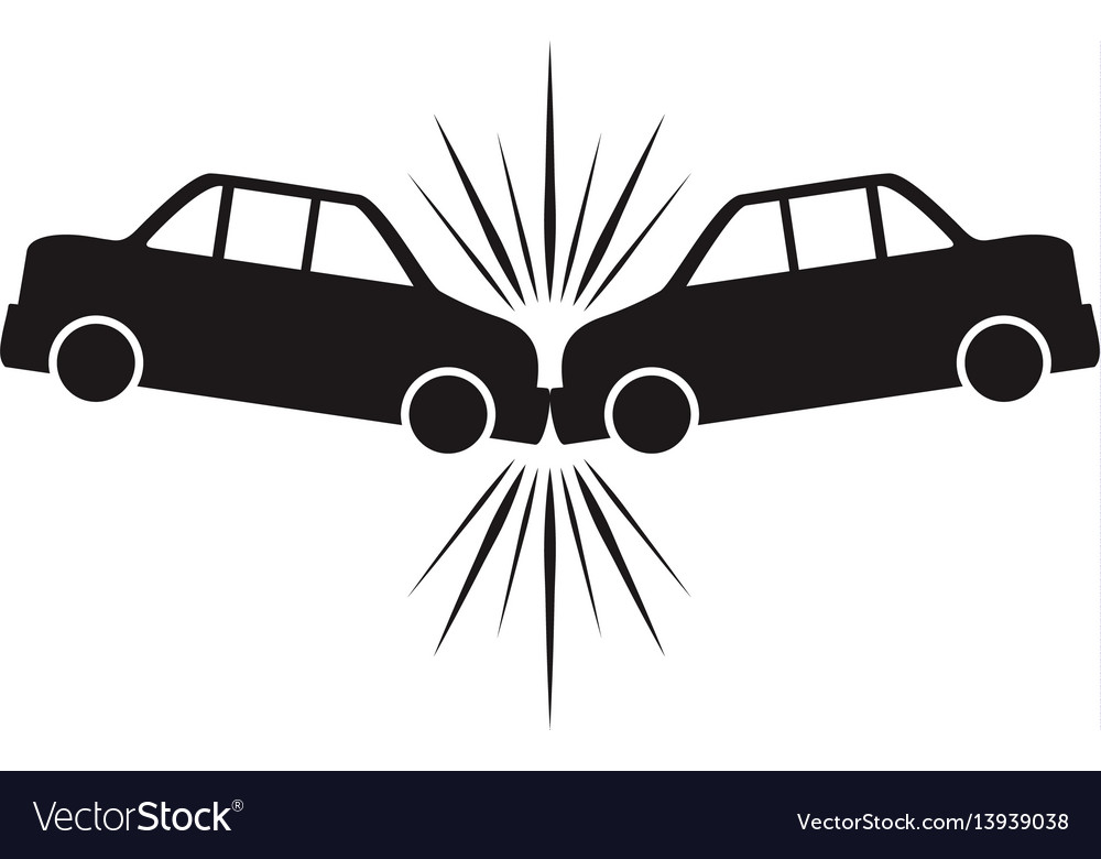 Cars crashing accident pictogram