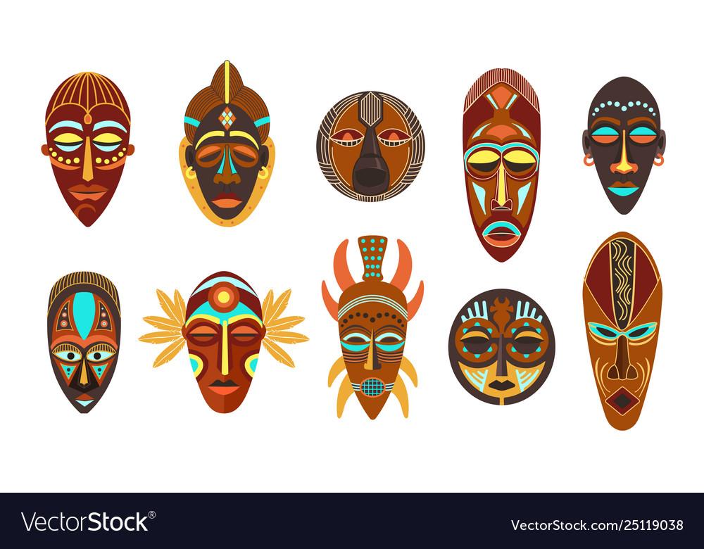 Flat set colorful african ethnic tribal ritual