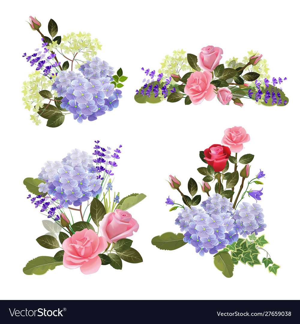 Flowers collection herbal nature beautiful