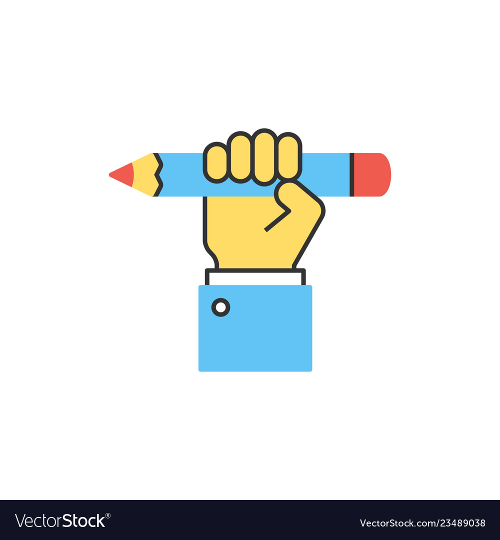 Hand holding pencil line icon