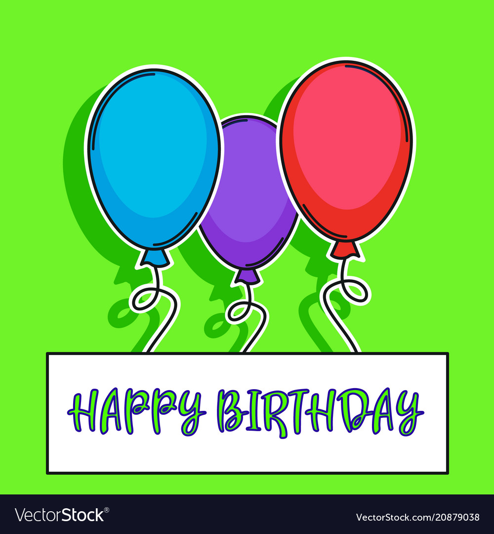 Happy birthday card with balloons over green