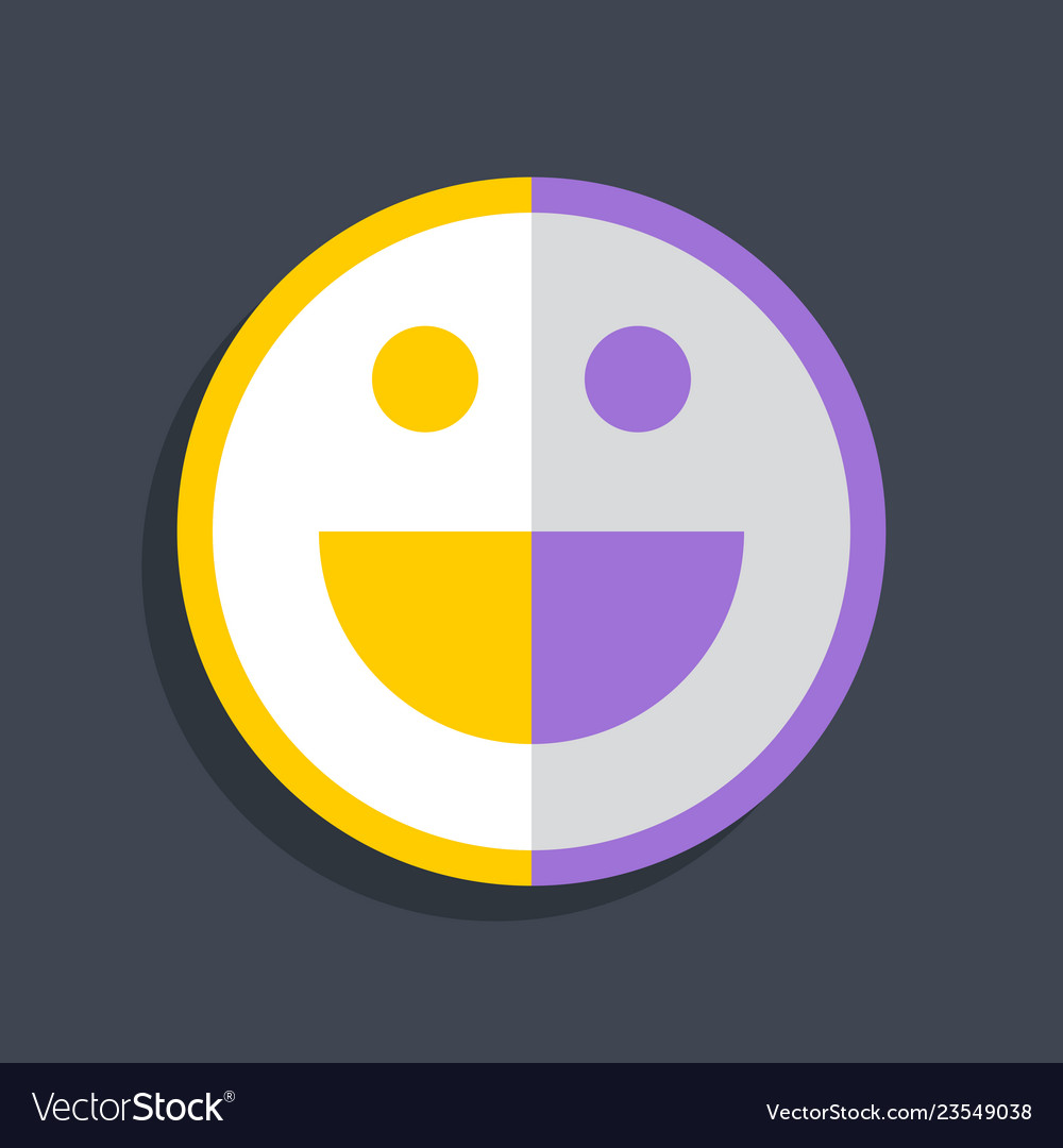 Happy smiling face icon in flat style