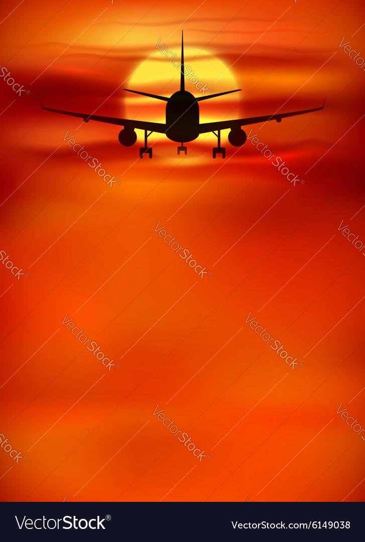 Orange sunset background with black plane vector image