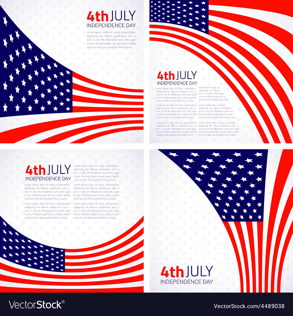Set of Stylish American Independence day design