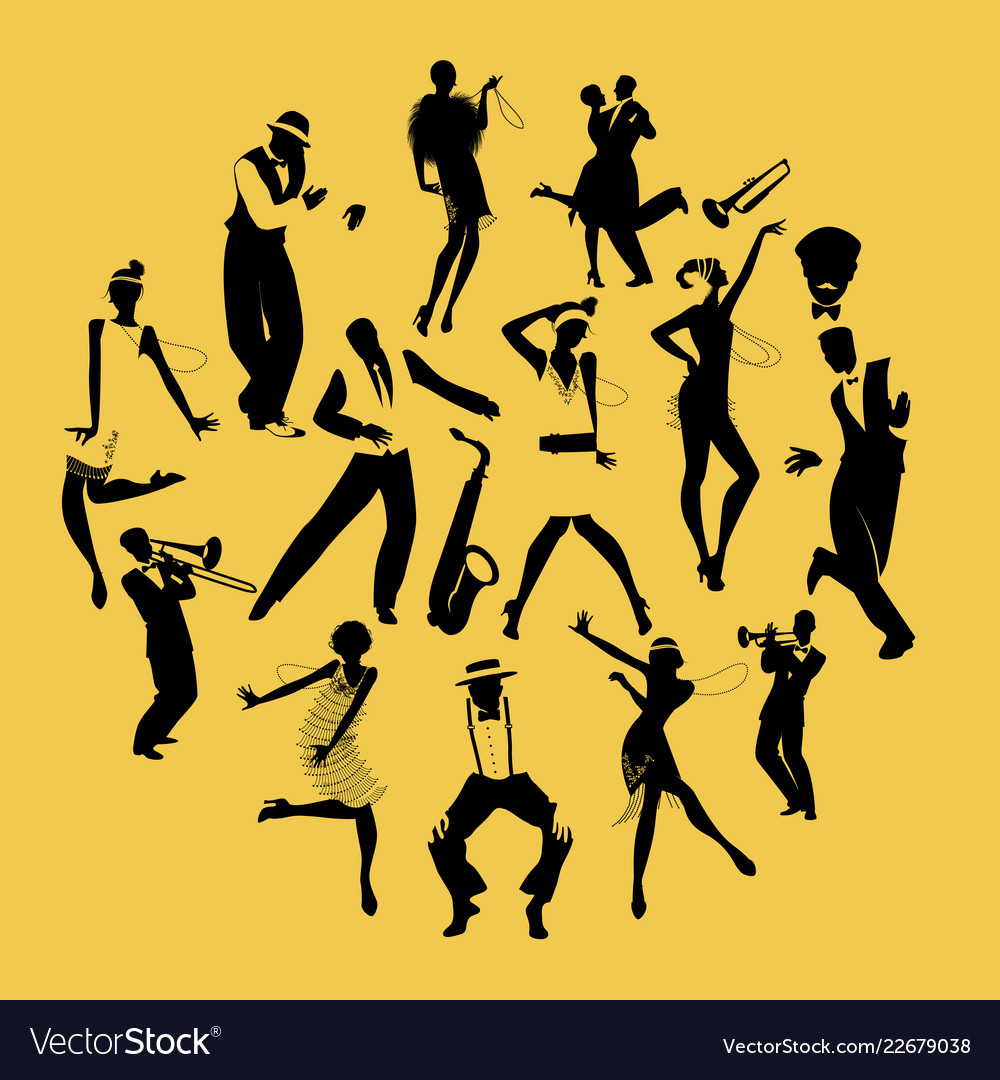 Silhouettes of dancers dancing charleston and