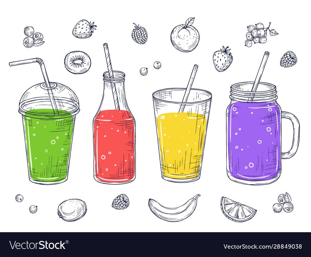 Smoothies fruit healthy juice sketch drinks