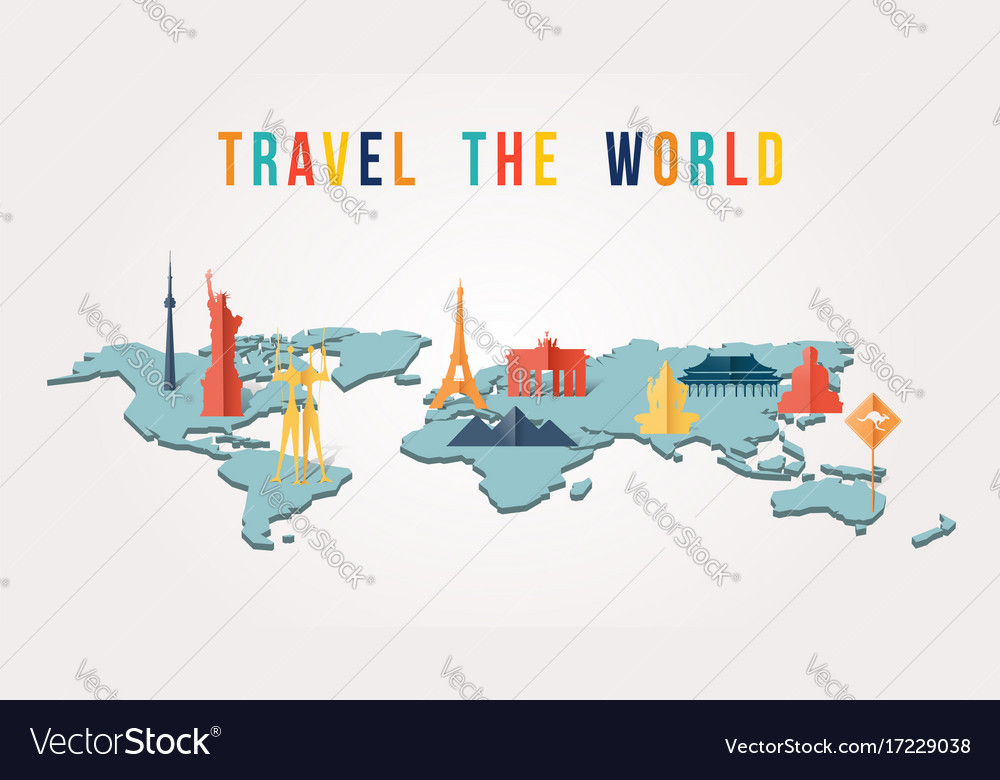 Travel the world paper cut monument map design vector image