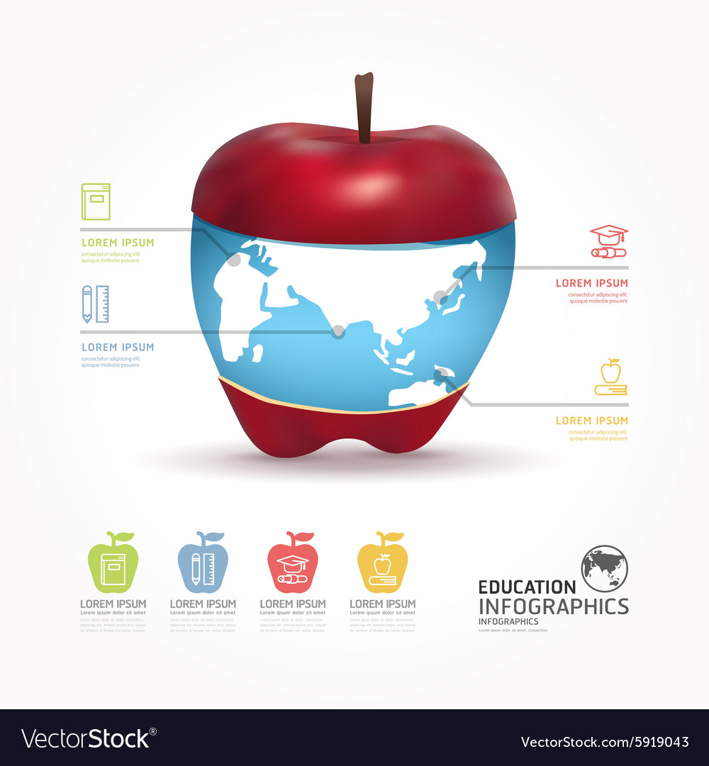 Abstract infographic Design world with apple templ