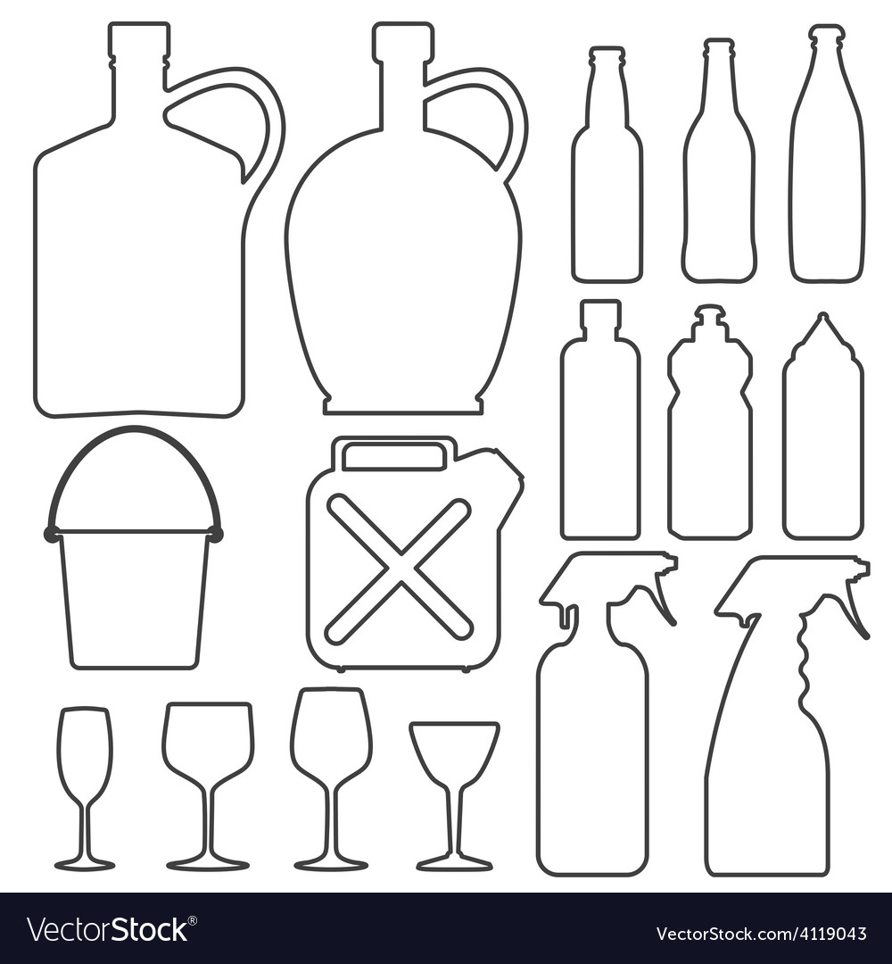 Bottle collection line silhouette vector image