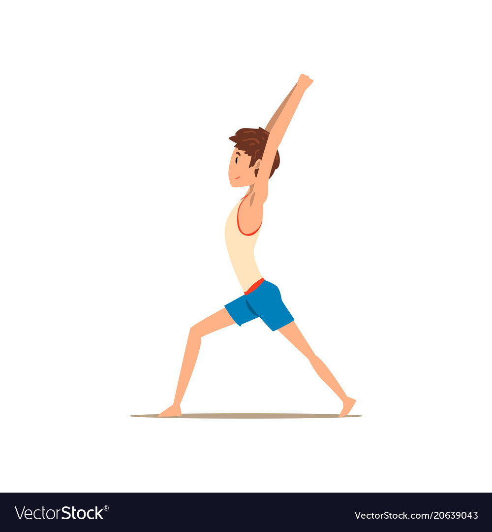 Boy In Warrior Yoga Pose Virabhadrasana Vector Image