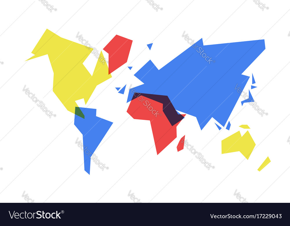 Colorful World Map Abstract Geometry Royalty Free Vector
