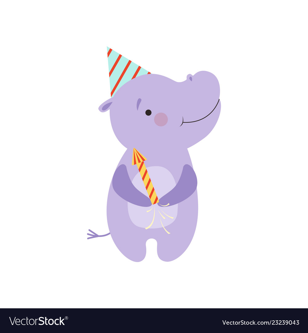 Cute hippo with a party popper lovely cartoon