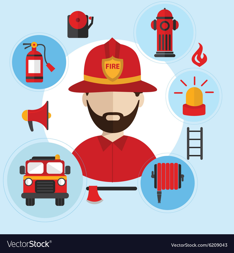 Firefighter and icons around Flat style